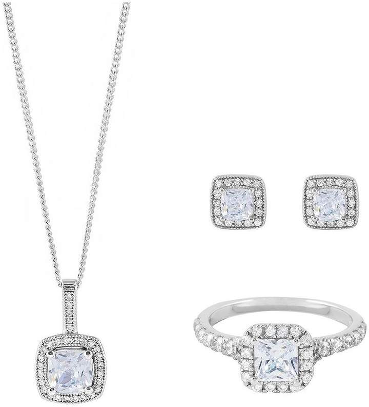 Love SILVER STERLING SILVER PRINCESS CUT CUBIC ZIRCONIA PENDANT, EARRING AND RING SET