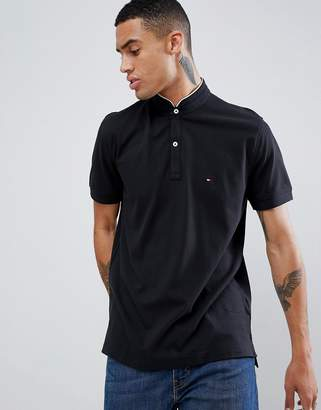Tommy Hilfiger pique polo with tipped stand collar flag logo in black