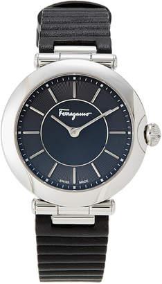 Salvatore Ferragamo FIN010015 Silver-Tone & Black Watch