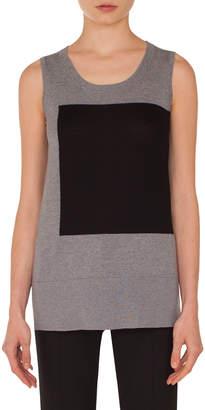 Akris Punto Square-Panel Round-Neck Sleeveless Wool Knit Top