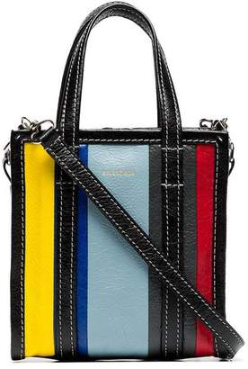 Balenciaga multi-coloured Bazar XXS stripe leather tote