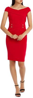 Lipsy Red V Neck Buckle Waist Bodycon L72930