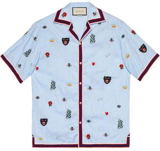 Gucci Embroidered cotton bowling shirt