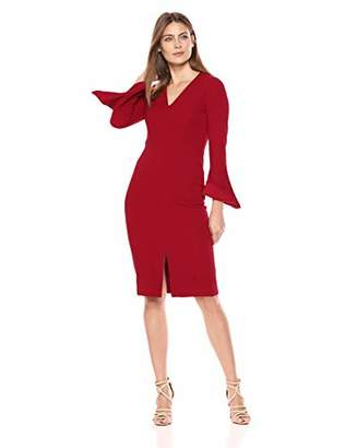 Maggy London Women's Novelty Longer Length Sheath with Long Sleeve