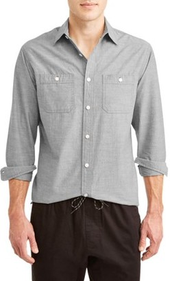Lee Men's Long Sleeve Chambray Button Down with 2 Pockets, Available up to size 2XL