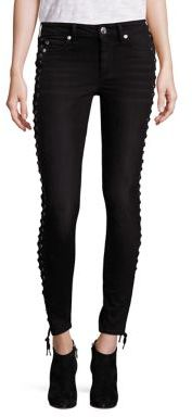 True Religion Halle Cropped Lace-Up Jeans $269 thestylecure.com
