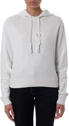 Saint Laurent White Cotton Hooded Sweatshirt
