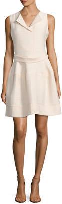 Maje Romya Crepe Textured Flared Dress