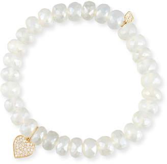 Sydney Evan Pearly Chalcedony & Diamond Heart Bracelet
