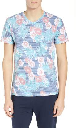 Sol Angeles Hibiscus Print V-Neck T-Shirt