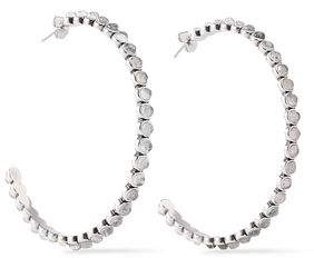 Luv Aj Silver-Tone Quartz Hoop Earrings
