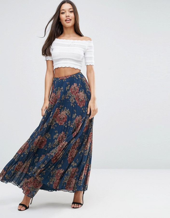 asos pleated maxi skirt in floral print shopstyle