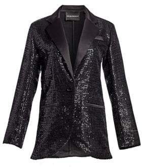 Emporio Armani Sequin Notch Lapel Blazer