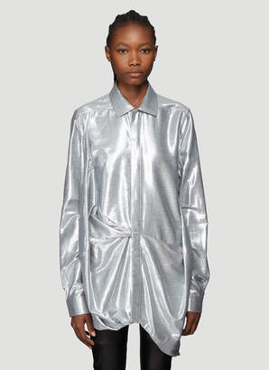 Rick Owens Metallic Gathered Hem Shirt in Grey