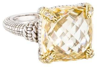 Judith Ripka Canary Crystal & Diamond Linen Cocktail Ring