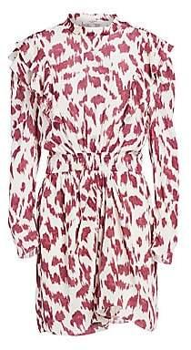 Etoile Isabel Marant Women's Yoana Printed Ruffled Silk Sheath Dress