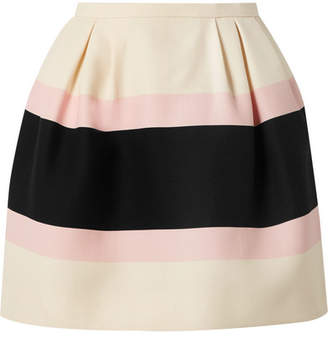 Valentino Striped Wool And Silk-blend Crepe Mini Skirt - Cream