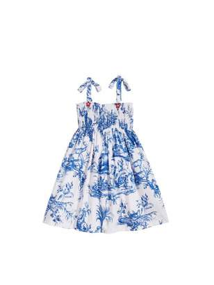 Oscar de la Renta Toile de Jouy Smocked Cotton Dress
