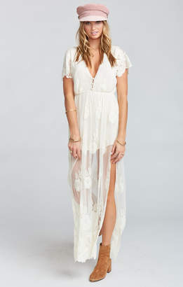 Show Me Your Mumu Alina Maxi Romper ~ Garden Party Lace Cream