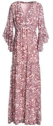 Badgley Mischka Fluted Leopard-print Georgette Maxi Dress