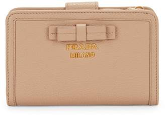 Prada Small Pebbled Leather Bow Zip Wallet
