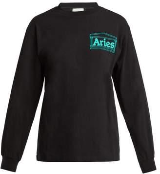 Aries Logo Long Sleeved Cotton T Shirt - Womens - Black