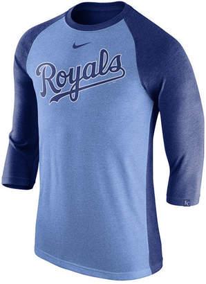 Nike Men's Kansas City Royals Tri-Blend Three-Quarter Raglan T-shirt