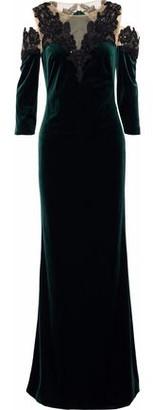 Marchesa Cold-Shoulder Lace-Appliquéd Tulle And Velvet Gown