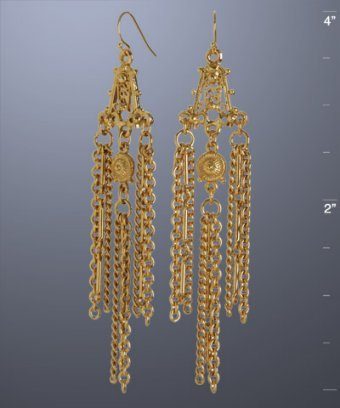 Ben-Amun gold triple chain fringe earrings