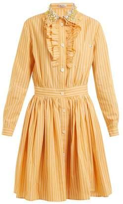 Miu Miu Embellished Collar Striped Cotton Shirt Dress - Womens - Orange Stripe