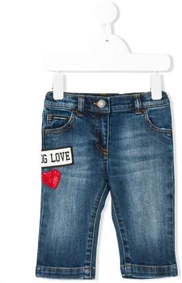 Dolce & Gabbana love patch straight jeans