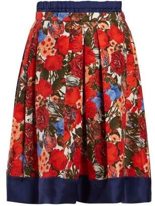Marni Floral Print Poplin Midi Skirt - Womens - Red Multi