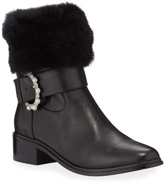 Neiman Marcus Leighton Leather & Fur Booties