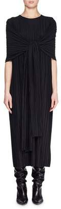 The Row Lisse Crewneck Tie-Front Plisse Long Dress