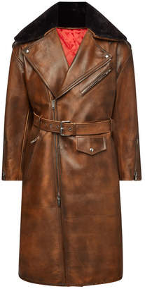 Calvin Klein Leather Coat with Shearling Collar