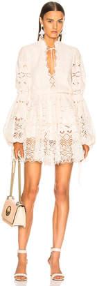 Jonathan Simkhai V Neck Blouson Sleeve Dress in Petal & Ivory | FWRD