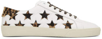 Saint Laurent White and Leopard Court Classic Star Sneakers