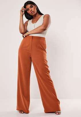 Missguided Plus Size Terracotta Co Ord Straight Leg Trousers