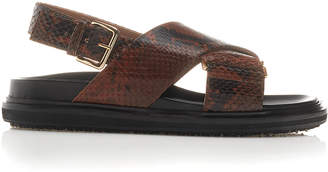Marni Embossed Strappy Flat Sandals