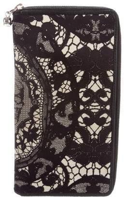 Alexander McQueen Leather-Trimmed Lace Print Zip-Around Wallet