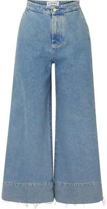 Loewe Frayed Cropped High-rise Wide-leg Jeans - Indigo