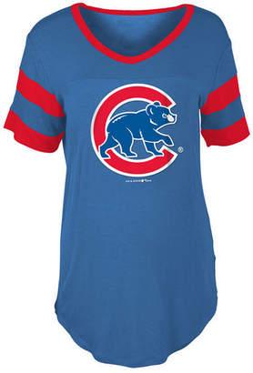 5th & Ocean Women's Chicago Cubs Sleeve Stripe Relax T-Shirt