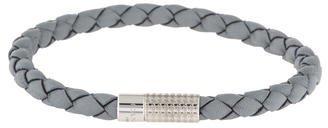Canali Grey Leather Braided Bracelet $75 thestylecure.com
