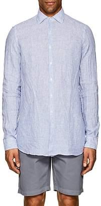 Piattelli Men's Striped Linen Short-Sleeve Shirt