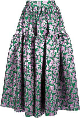 La DoubleJ Oscar Floral-Printed Brocade Skirt