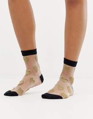 Asos Design DESIGN metallic heart ankle socks