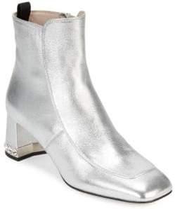 Miu Miu Crystal Heel Metallic Booties
