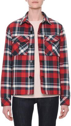 Tomas Maier Button-Front Plaid Cotton Jacket