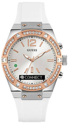 Guess Connect Sport Stainless Steel and Silicone Crystal-Accented Smartwatch $249 thestylecure.com