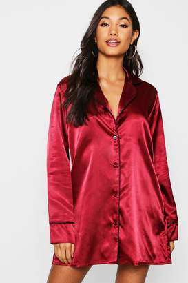 boohoo Satin Button Through Night Shirt